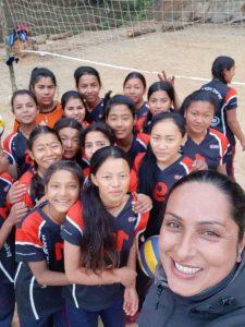 Kopila Upreti training volleyball young women Nepal